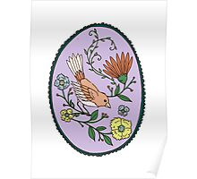 Oval Bird Greeting Poster