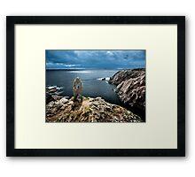 Boulder on cliffs Framed Print