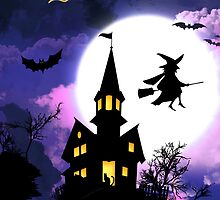 Scary Haunted House Happy Halloween by scottorz