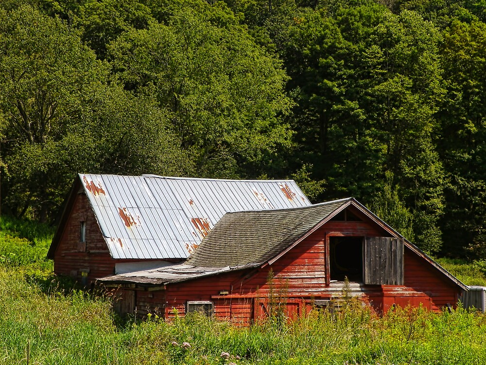 Sinking Red Barn by PineSinger
