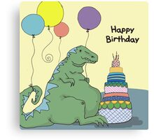 Happy Birthday Dinosaur with Smaller Font Canvas Print