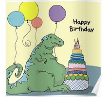 Happy Birthday Dinosaur with Smaller Font Poster
