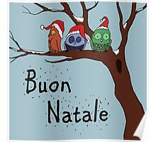 Buon Natale with Owls in a tree Poster