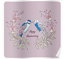 Happy Anniversary with LoveBirds Poster