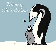 Merry Christmas Penguin Mom and Baby by MADCreations