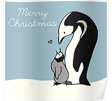 Merry Christmas Penguin Mom and Baby Poster