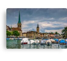 Fraumunster Cathedral and St.Peter Church in Zurich Canvas Print