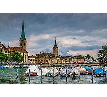 Fraumunster Cathedral and St.Peter Church in Zurich Photographic Print