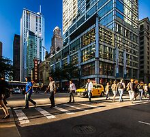 Chicago street in the setting sun by Sven Brogren