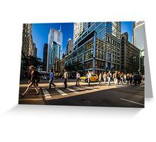 Chicago street in the setting sun Greeting Card