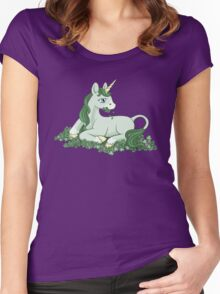 Green Clover Unicorn Women's Fitted Scoop T-Shirt
