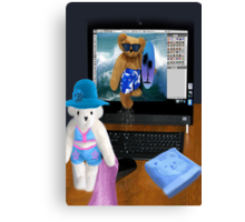 (✿◠‿◠) BEARS SURFING THE INTERNET PICTURE/CARD (✿◠‿◠)  Canvas Print