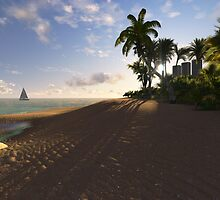 Sunset beach. 3D version by Marsea