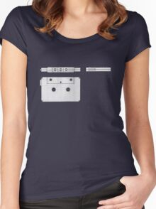 Cassette Tape Projection Women's Fitted Scoop T-Shirt