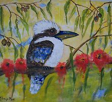 Kookaburra with gum flowers by Glenys Coleman