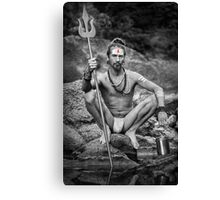 Yogi With Trident - Naked In Ashes Canvas Print