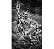 Yogi With Trident - Naked In Ashes Photographic Print