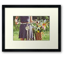 Girl With Old-Fashioned Bicycle and Flowers Framed Print