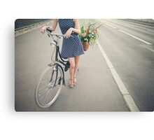 Pretty Girl With Bicycle Canvas Print