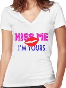 Kiss Me - I'm Yours Women's Fitted V-Neck T-Shirt