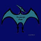 Pterodactyls in Blue with Pink Feathers by Sarah Curtiss
