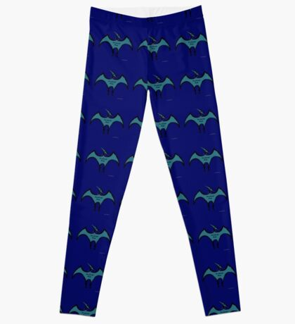 Pterodactyls in Blue with Pink Feathers Leggings