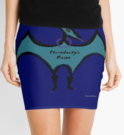 Pterodactyls in Blue with Pink Feathers Mini Skirt