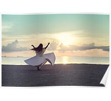 Woman Dancing on the Beach at Sunset Poster