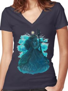 Day Ocean with Clouds Women's Fitted V-Neck T-Shirt