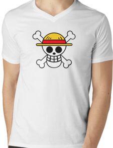 One Piece Cool Skull Mens V-Neck T-Shirt