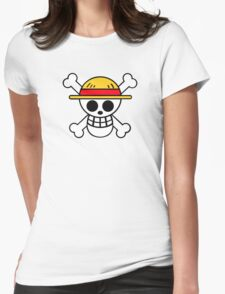 One Piece Cool Skull Womens Fitted T-Shirt