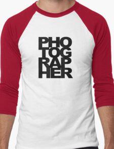 Photographer Camera Photography Modern Text Photos Scrapbook Geek Men's Baseball ¾ T-Shirt