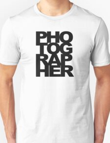 Photographer Camera Photography Modern Text Photos Scrapbook Geek T-Shirt