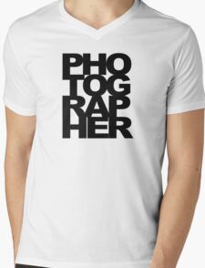 Photographer Camera Photography Modern Text Photos Scrapbook Geek Mens V-Neck T-Shirt