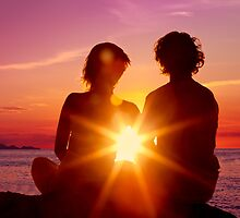 Lovers Watching a Romantic Sunset by visualspectrum