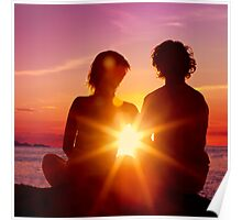 Lovers Watching a Romantic Sunset Poster