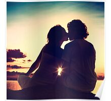 Lovers Kissing at Sunset Poster