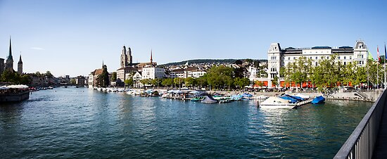 Zurich (Zürich) - River Limmat with Grossmünster by visualspectrum