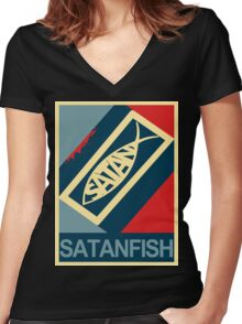 SATANFISH 1.0  Women's Fitted V-Neck T-Shirt