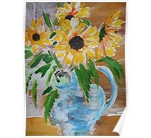 Sunflowers in Blue Jug. Poster