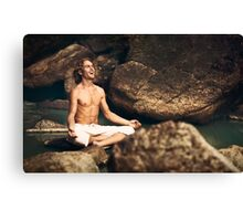 Laughing Young Man in Meditation Posture Canvas Print