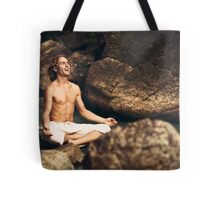 Laughing Young Man in Meditation Posture Tote Bag