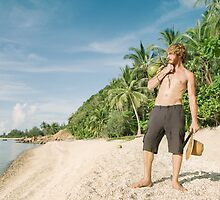 White Man Alone on Tropical Beach by visualspectrum