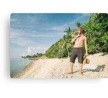 White Man Alone on Tropical Beach Canvas Print