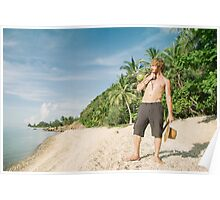 White Man Alone on Tropical Beach Poster