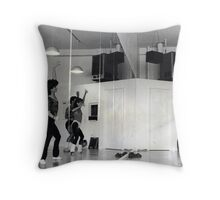Reflection of Aerobics Class In The Mirror Throw Pillow