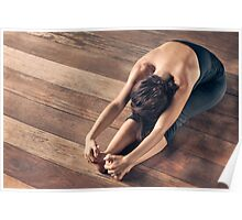 Yoga: Young Woman Doing Forward Bend Poster