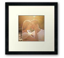 Happy Loving Couple in Park Framed Print