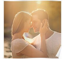 Happy Loving Couple in Park Poster