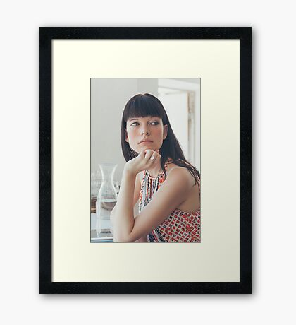 Pretty Woman Looking Away Framed Print